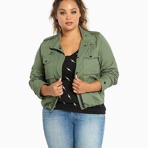 torrid Jacket   Green Twill Utility Jacket